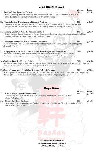 Bashan Wine Menu
